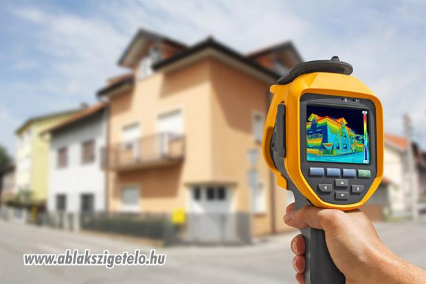 Ablakszigetelés ellenőrzése hőkamerával.